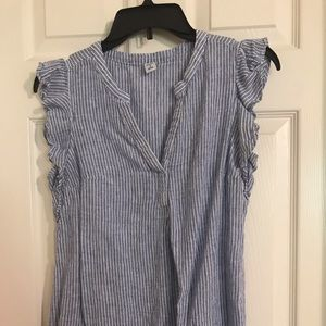 Blue and white stripped maternity shirt